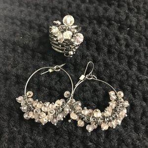 Stunning Glass Lavender Earrings & Ring Set